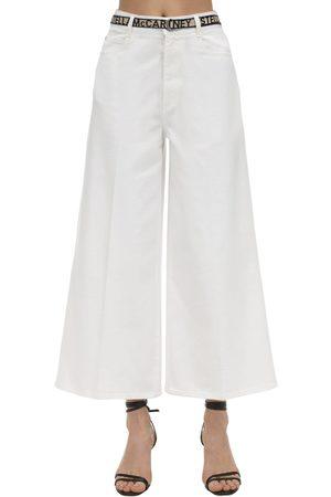 Stella McCartney Cropped Cotton Denim Wide Leg Jeans