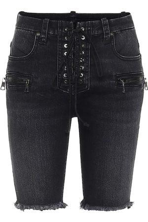 UNRAVEL Shorts de jeans acordonados