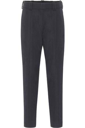 Balmain Pantalones de tiro alto de lana