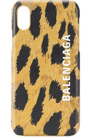 Balenciaga Funda para iPhone XS con estampado de leopardo