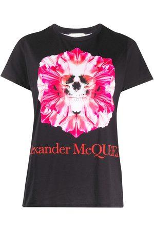 Alexander McQueen Camiseta con motivo de calavera y flores