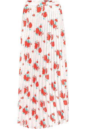 Vetements Falda midi de sarga plisada floral