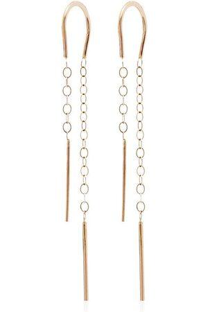 MELISSA JOY MANNING Pendientes Horseshoe Chain en oro amarillo de 14kt con perla colgante