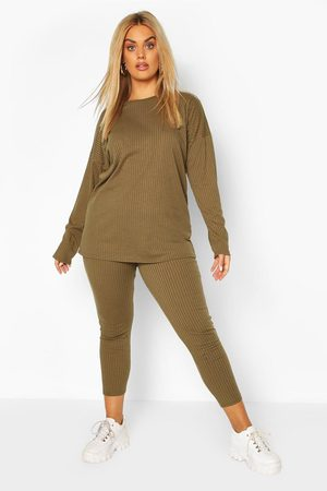 Boohoo Conjunto de leggigns de y top ancho en canalé Plus