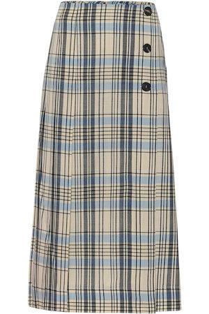 Victoria Beckham Mujer Midi - Falda midi de lana de cuadros