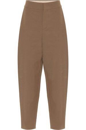 Chloé Pantalones tapered de sarga