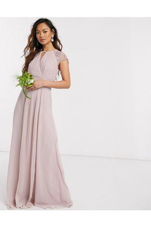 TFNC Vestido largo de dama de honor con manga de encaje en rosa de