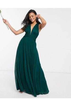 ASOS DESIGN Vestido largo de dama de honor con diseño drapeado, cuerpo fruncido y cintura cruzada de -Verde