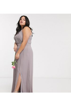 TFNC Vestido largo plisado de dama de honor en gris de