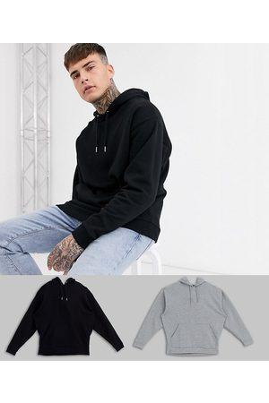 ASOS Pack de 2 sudaderas con capucha extragrandes en negro/gris de -Multicolor