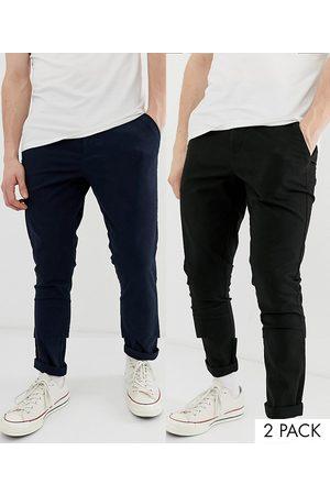 ASOS DESIGN Pack de 2 chinos muy ajustados en negro y azul marino de , ahorra-Multicolor
