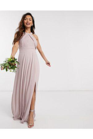 TFNC Vestido largo y plisado de dama de honor en rosa exclusivo de