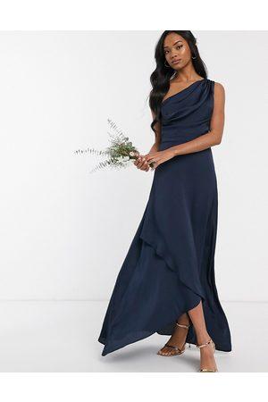 TFNC Mujer De noche - Vestido largo asimétrico de dama de honor en azul marino de -Gris