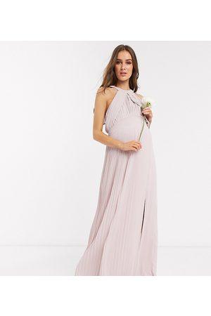 TFNC Vestido largo de dama de honor plisado en rosa de