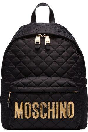 Moschino Mochila acolchada con placa del logo