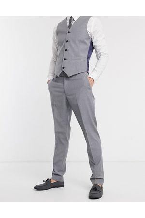 ASOS DESIGN Hombre Pantalones de traje - Pantalones de traje de corte slim en gris medio de -Azul marino