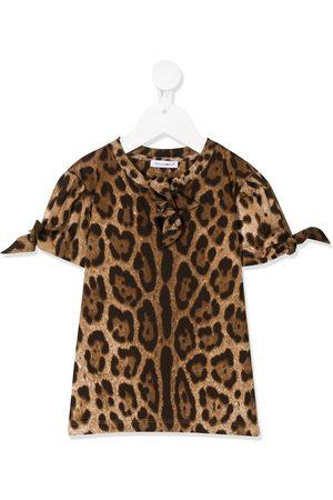 Dolce & Gabbana Kids Camiseta con motivo de leopardo y lazos en los puños