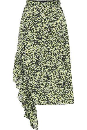 Rokh Falda midi floral de tiro alto