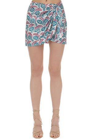 Isabel Marant   Mujer Mini Falda De Seda Estampada /rosa 40