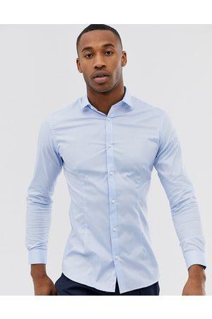 Jack & Jones Camisa elegante de corte slim elástico en azul de Premium