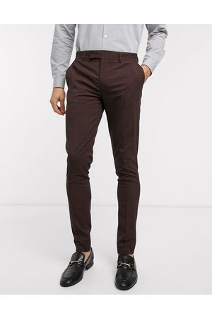 ASOS Pantalones de traje ajustados a cuadros pequeños en burdeos y gris de wedding-Rojo