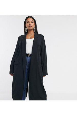 ASOS Abrigo largo y suave en negro de ASOS DESIGN Curve