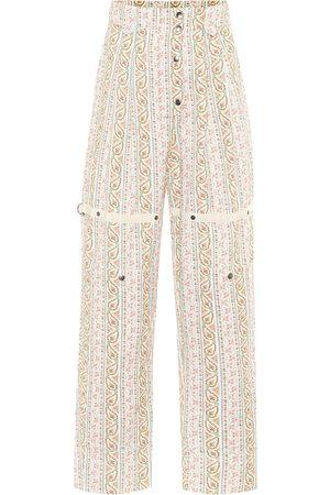 Etro Pantalones de algodón tiro alto