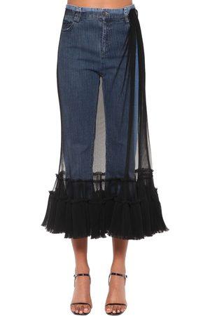 ACT N°1   Mujer Jeans De Denim Con Tul /negro 36