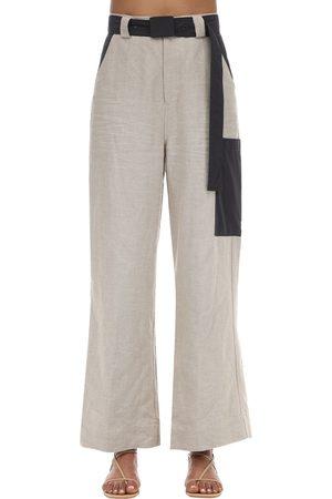 GANNI | Mujer Pantalones Anchos De Lino 36