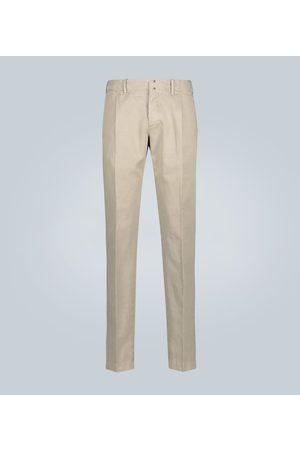 Incotex Chinos entallados de algodón y lino