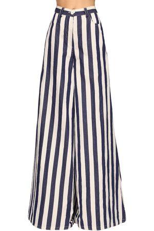 SUNNEI | Mujer Pantalones Palazzo De Algodón Con Rayas /blued Xs