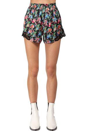 Paco rabanne | Mujer Shorts De Satén Y Encaje Con Estampado 34
