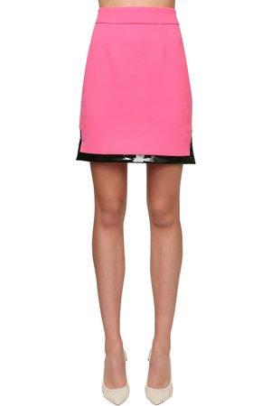ROWEN ROSE | Mujer Minifalda De Crepé De Lana Con Vinilo 34