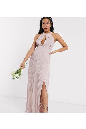 TFNC Vestido largo de dama de honor plisado en rosa exclusivo de