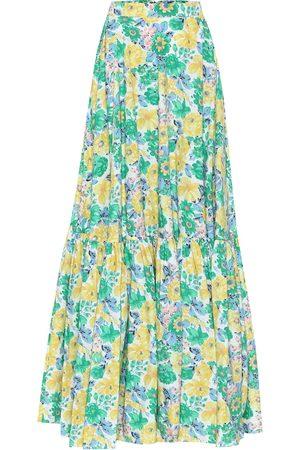 Plan C Falda larga de algodón floral