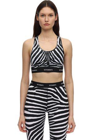 Vetements | Mujer Top Corto Con Estampado Cebra Y Logo /blanco Xs