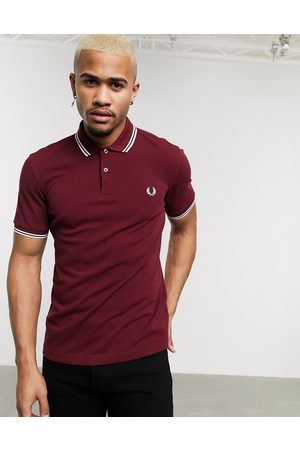 Fred Perry Polo con logo y ribetes dobles en burdeos de -Rojo