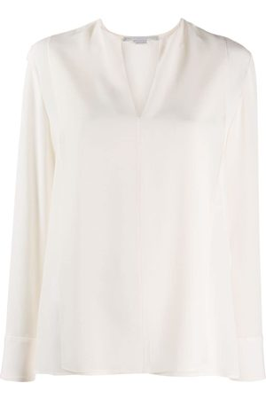 Stella McCartney Split-neck long-sleeve blouse