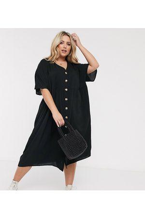 ASOS Vestido midi amplio con cuello de pico y botones en negro de ASOS DESIGN Curve