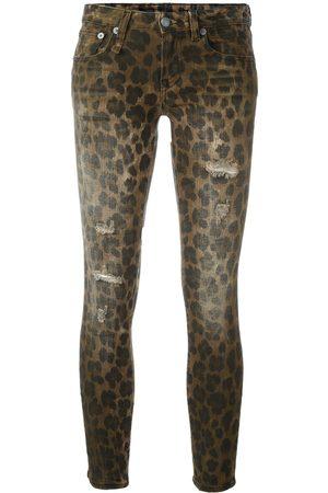 R13 Mujer Cintura alta - Vaqueros pitillo con estampado de leopardo