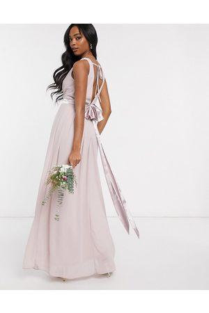 TFNC Vestido de dama de honor largo con diseño cruzado y lazo en la parte posterior en rosa de