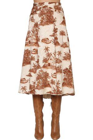 JOHANNA ORTIZ   Mujer Falda Midi Abierta De Algodón Con Jacquard /marrón 0