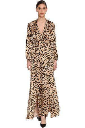 TEMPERLEY LONDON | Mujer Vestido De Satén De Seda Con Estampado Animal 8