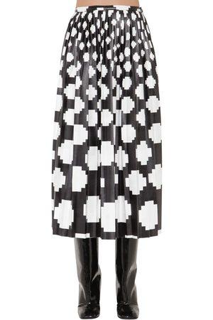 Marni | Mujer Falda Midi De Satén Estampado Con Plisado /blanco 38