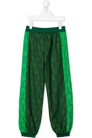 Gucci Kids Pantalones de chándal con encaje floral