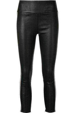 SPRWMN Pantalones de cuero stretch con franja lateral