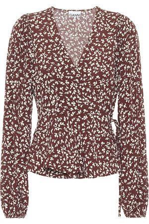 Ganni Blusa de crepé floral