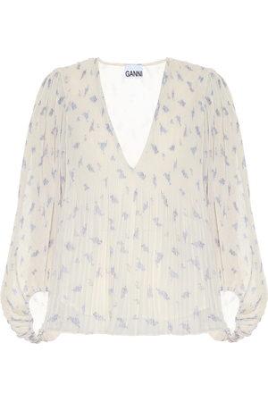 Ganni Blusa de georgette floral plisada