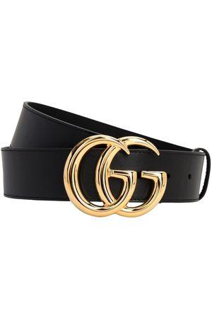 Gucci | Hombre Cinturón De Piel Con Hebilla Brillante Gg 40mm 115