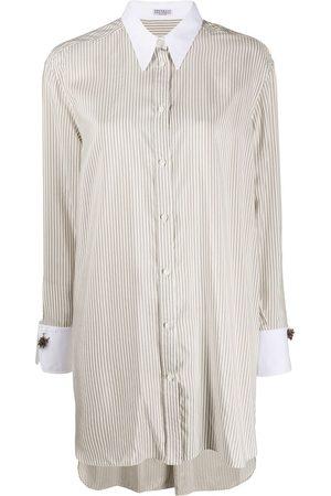 Brunello Cucinelli Camisa larga a rayas